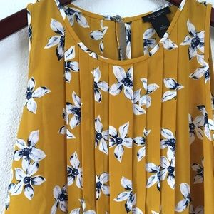 Ann Taylor Factory Floral Pleated Shell